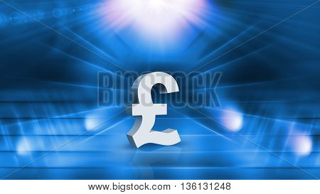 Memory of Pound Sterling Symbol 3D illustration 3D rendering