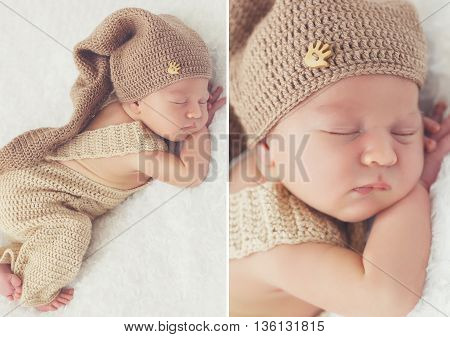 Collage of two photos-a Sleeping newborn baby in a knitted hat:toddler on white blanket in beige knitted rompers and knitted cap on his head,legs tucked under him