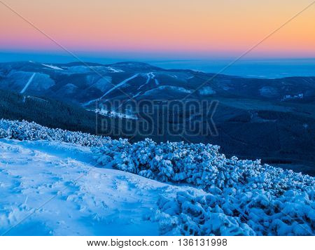Dramatic dusk in winter mountains, Giant Mountains, Czech Republic