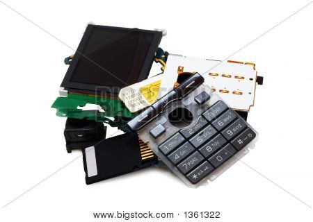 Disassembled Phone (Isolated On White)
