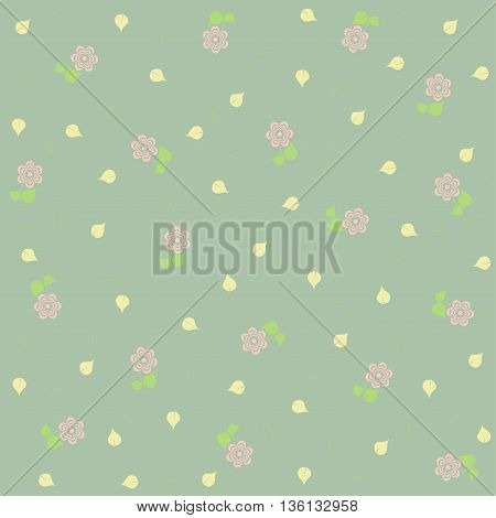 Cute floral pattern in pastel green tones