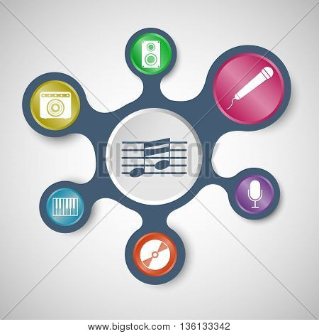 Music infographic templates with connected metaballs, stock vector