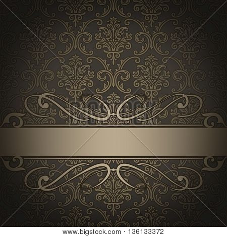 Dark vintage background with decorative border and old-fashioned patterns.