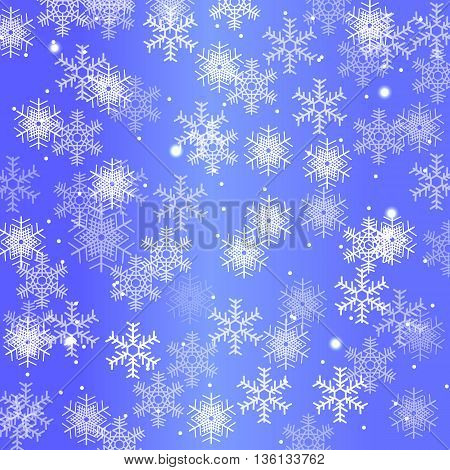 winter background with snowflakes on a blue background, Merry Christmas