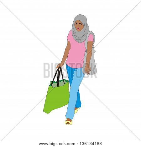 Illustration muslim shopping girl isolated on white background