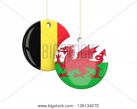 Wales And Belgium Soccer Teams Round Labes