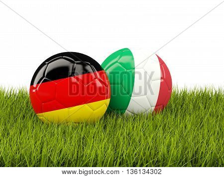 Italy And Germany Soccer  Balls On Grass