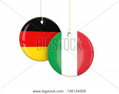 Germany And Italy Soccer Teams Round Labes