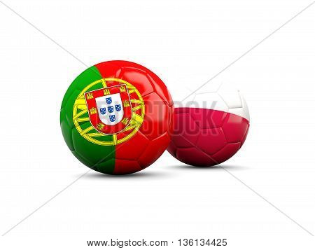 Portugal And Poland Soccer Balls Isolated On White