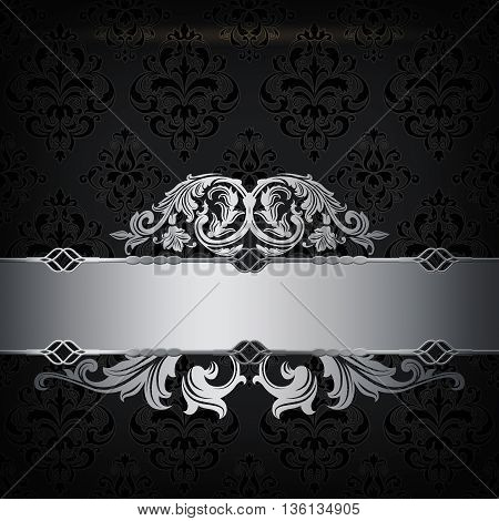 Vintage background with decorative border and old-fashioned ornament. Black and silver style.