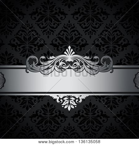 Decorative vintage background with silver border and old-fashioned patterns.