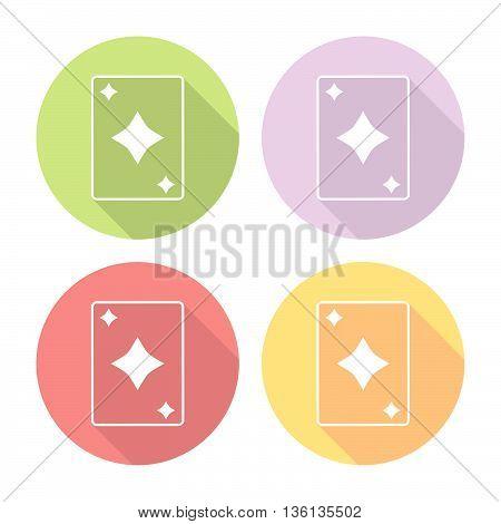 Playing Card Diamonds Suit Flat Icons Set