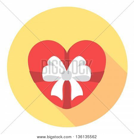 Heart Gift With Ribbon Flat Style Design Icon