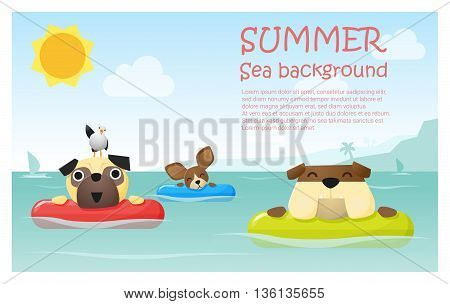 Enjoy tropical summer holiday with little dog ,  vector, illustration