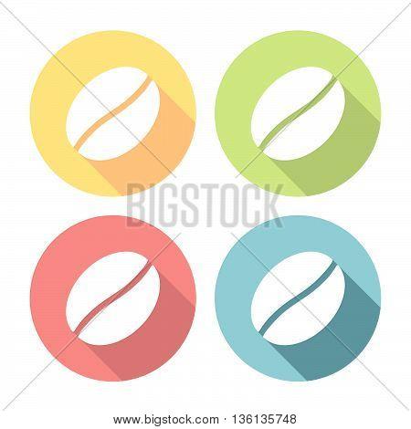 Coffee Bean Flat Icons Set