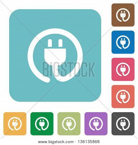 Flat power cord icons on rounded square color backgrounds.