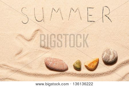 Mark Of Starfish, Sea Stones, Summer Lettering Drawn On Sand