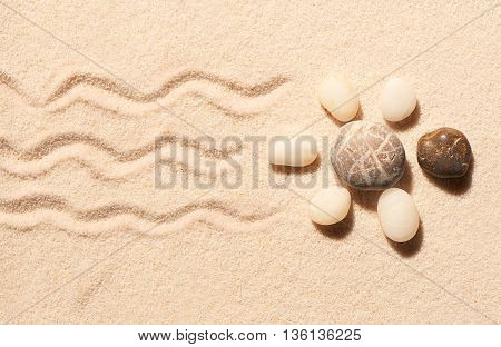 Turtle Made Of Sea Stones On Sand. Summer Beach Background