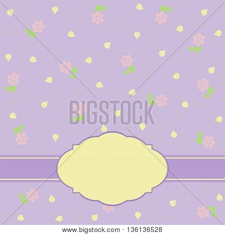 Template greeting card illustration with frame and flowers
