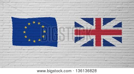Brexit Yes. Brexit No. Flags of the United Kingdom and the European Union
