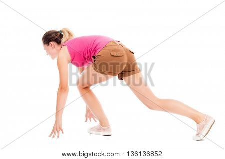 side view woman start position.  Rear view people collection.  backside view of person.  Isolated over white background. The girl in brown shorts and a pink t-shirt has been run.