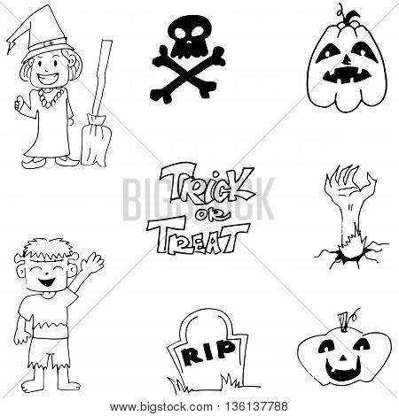 Halloween zombie witch pumpkins doodle cute illustration