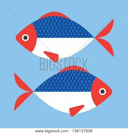 Fish flat style vector illustration. on a blue background