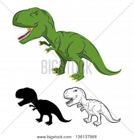 Green Gigantic Dinosaur Tyrannosaurus Rex. Prehistoric Reptile. Ancient Predator. Animal Jurassic Wi