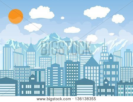 Day city skyline. Buildings silhouette with windows cityscape with clouds with mountains. Big city streets. Blue sky with white clouds. Vector illustration