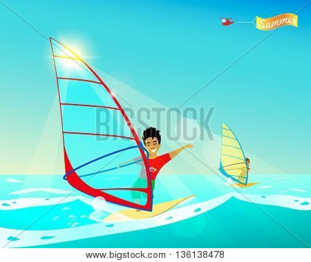 Windsurfing. Cartoon stylized summer poster. Vector illustration. Young wind-surfer. Helicopter with