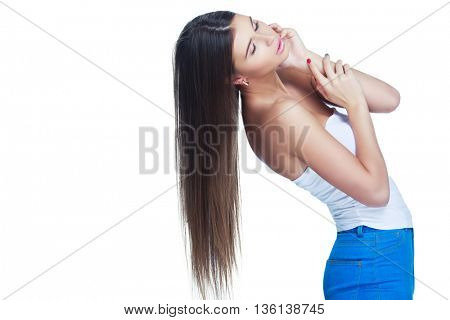beautiful slim model with long hair, isolated against white background