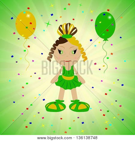baby girl cute on a green background, festive background with balloons, cute girl, girl vector, Animated babe