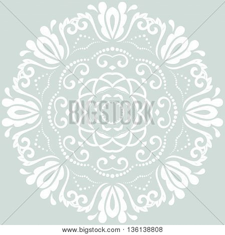 Floral light blue and white pattern with fine arabesques. Abstract oriental ornament