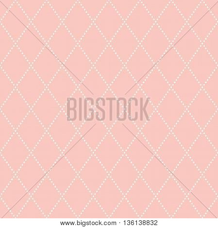 Geometric repeating ornament with pink background and white diagonal dotted lines. Seamless abstract modern pattern