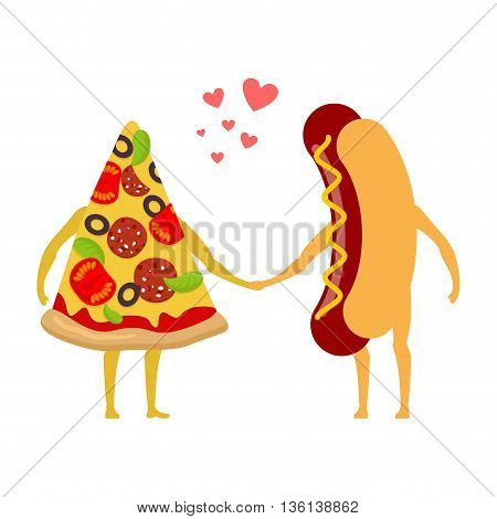 Pizza And Hot Dog Love. Piece Of Pizza And Sausage Holding Hands. Romance Fast Food. I Love Food.