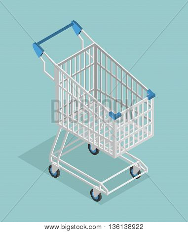 Shopping Cart Isometrics. Empty Supermarket Shopping Trolley Isolated.