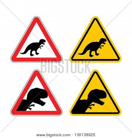 Warning Sign Of Attention Dinosaur. Dangers Yellow Sign Tyrannosaurus Rex. Prehistoric Monster Lizar