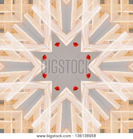 Abstract geometric and symmetric colorful design of matchsticks