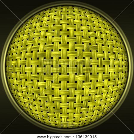 Abstract decorative yellow sphere - striped wooden 3D pattern