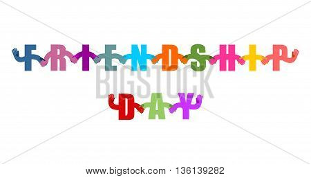 Friendship Day logo. International holiday sign. Letters holding hands. Handshake typography. Friendship text on white background