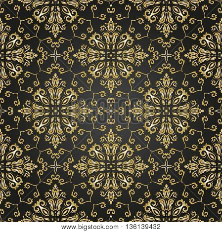 Oriental classic ornament. Seamless abstract black and golden background