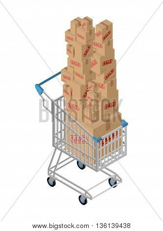 Shopping Cart And Box Sale. Shopping At Supermarket. Many Boxes. Large Number Of Purchases. Discount