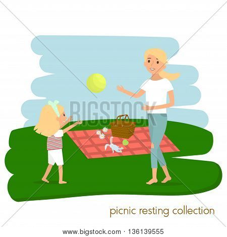 Family picnic resting. Mother with daughter on picnic. Summer vacation. Vector illustration
