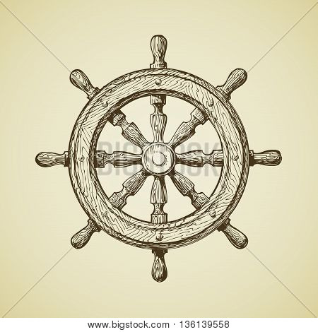Hand drawn vintage ships wheel in the old-fashioned style. Vector illustration