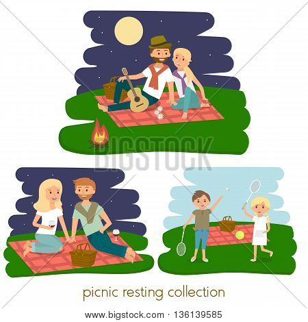 Set of Happy family picnic resting. Young couple outdoors. Summer family picnic. Vector Illustration