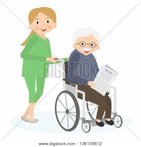 Handicapped senior man in a wheelchair. Special needs man. Caring for seniors helping moving around. Elderly care. Vector illustration.