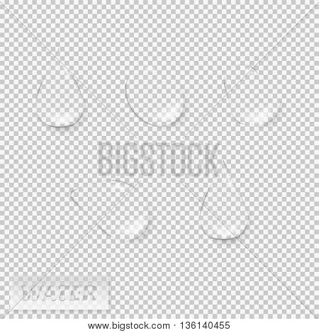 Water drops realistic set isolated vector illustration