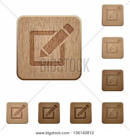 Set of carved wooden editor buttons in 8 variations.