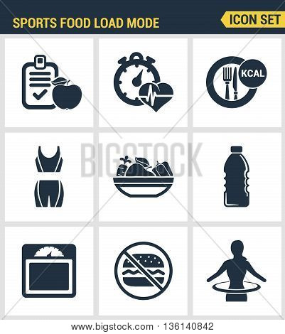 Icons set premium quality of fitness icon. Sports food load mode burn calories healthy food diet fitness. Modern pictogram collection flat design style symbol collection. Isolated white background.