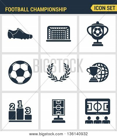 Icons set premium quality of football championship soccer game world cup. Modern pictogram collection flat design style symbol collection. Isolated white background.